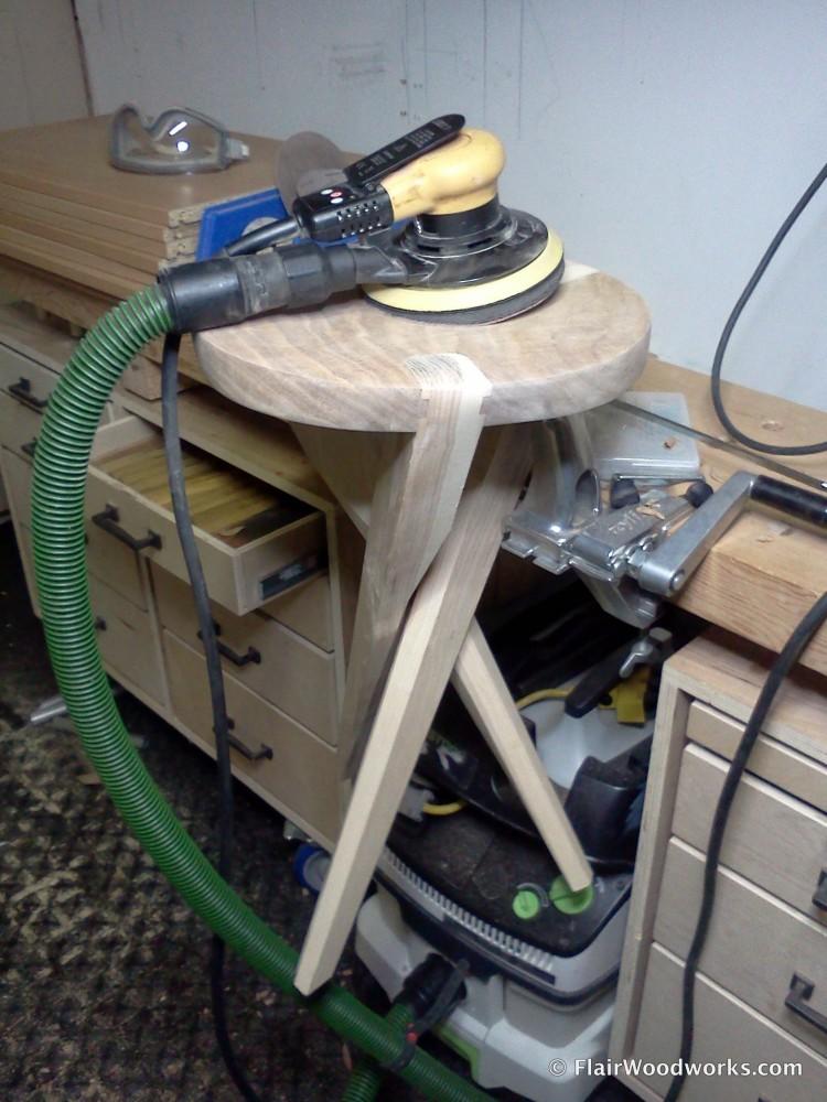 Sanding the Stool Seat