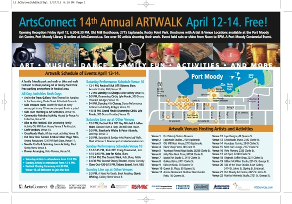 ArtWalk Schedule of Events-Centennial Page