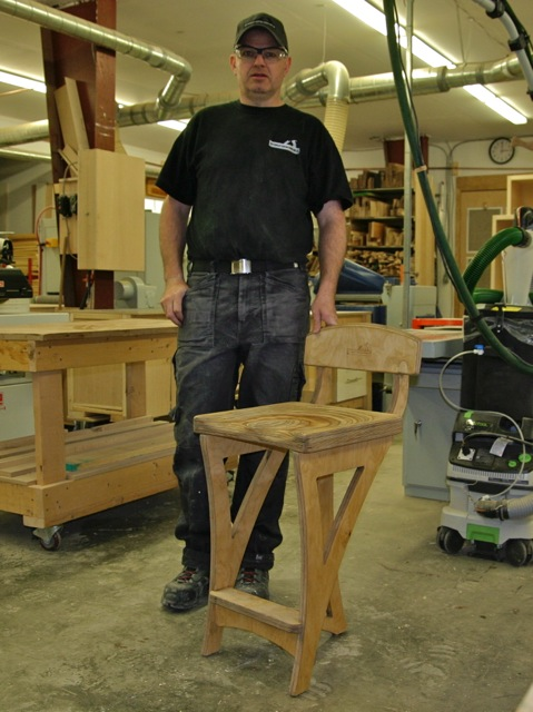 Andrew Coholic with Shop Stool