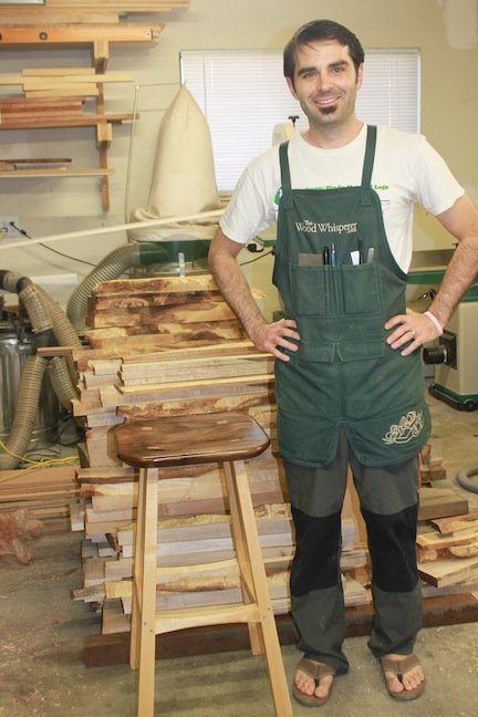 Sean Rubino with Shop Stool