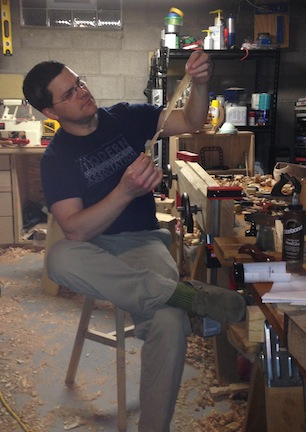 Sean Wisniewski with Shop Stool