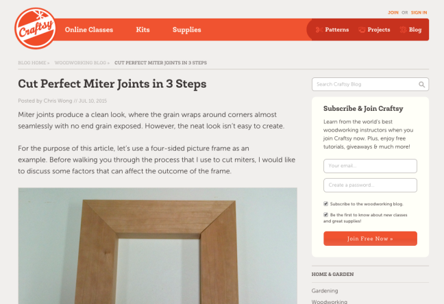 Craftsy - Cut Perfect Mitre Joints