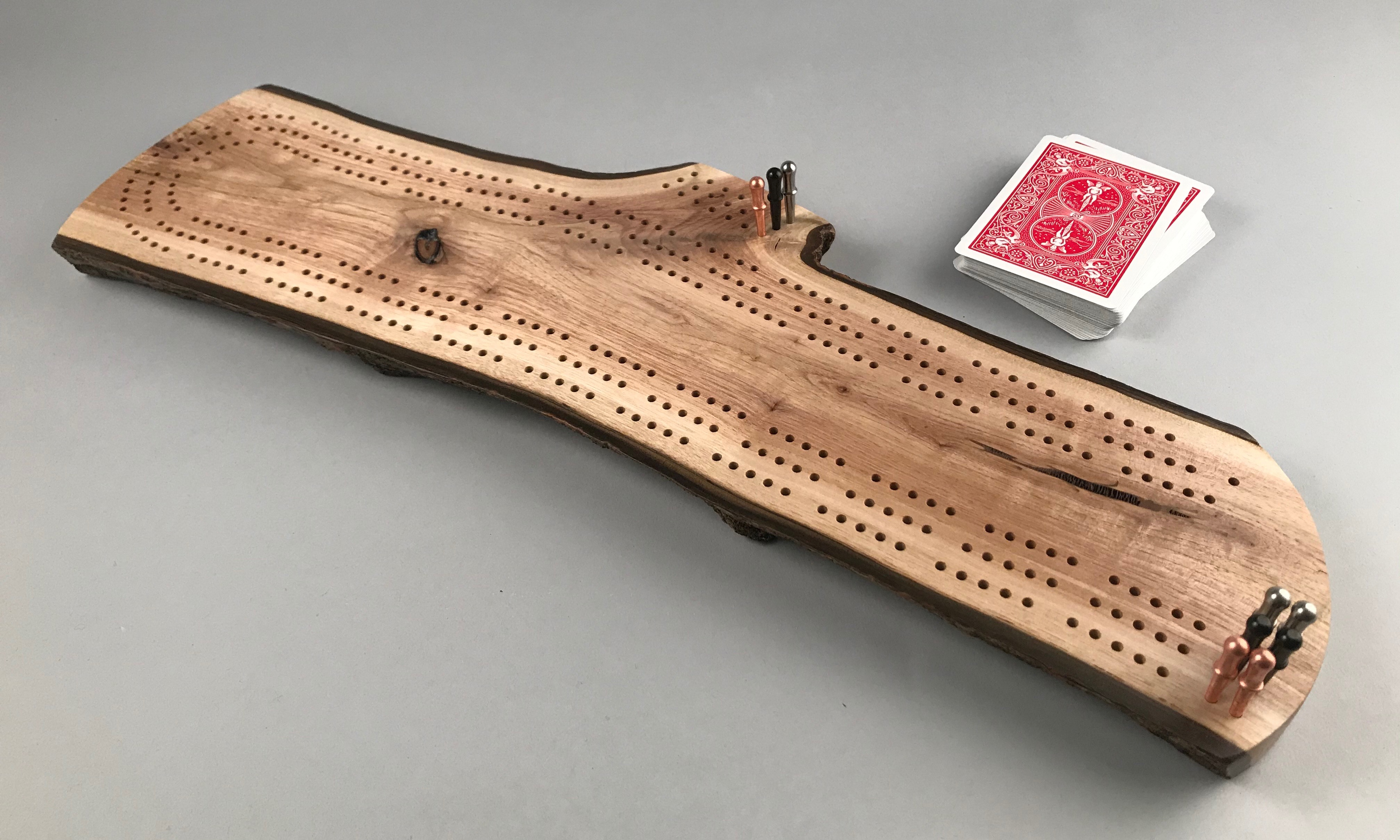 Live Edge Cribbage Board 34 with metal pegs