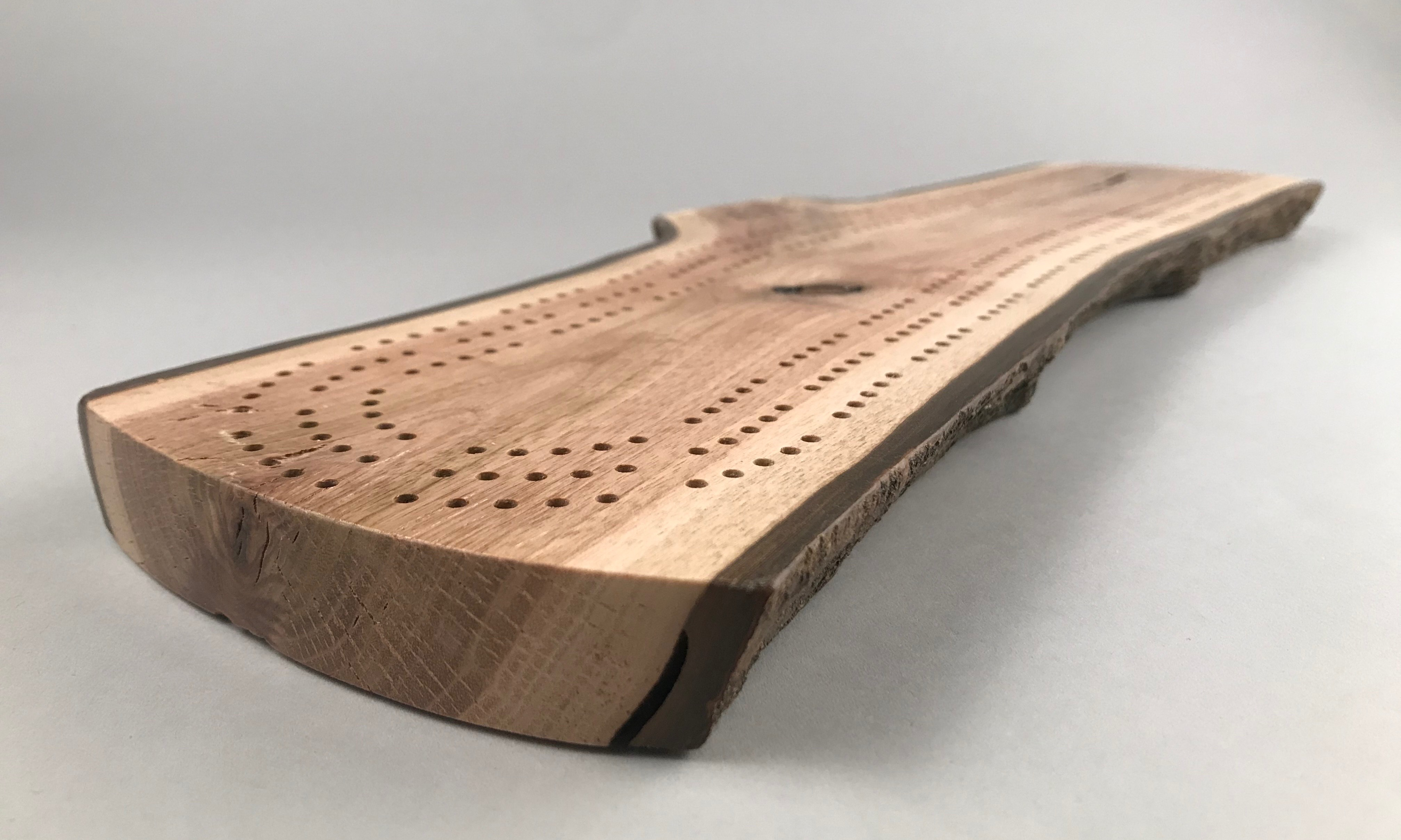 Live Edge Cribbage Board 34 midway low